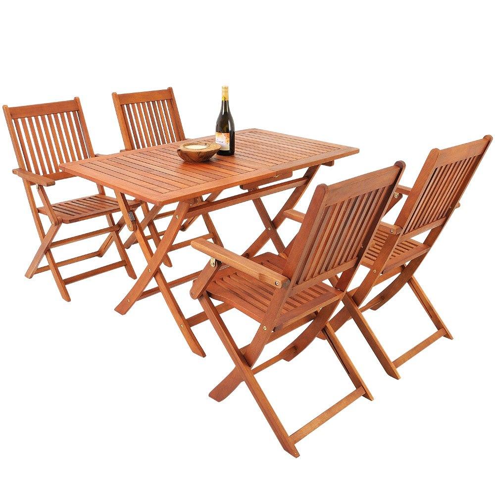 Mesa cuatro sillas de madera acacia para jardin balcon - Sillas de patio ...