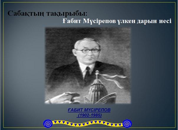 Қазақша презентация (слайд): Қазақ әдебиеті | Ғабит Мүсірепов