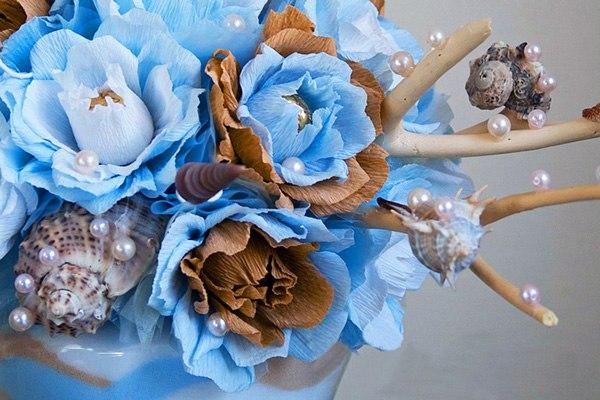цветы из конфет и гофробумаги