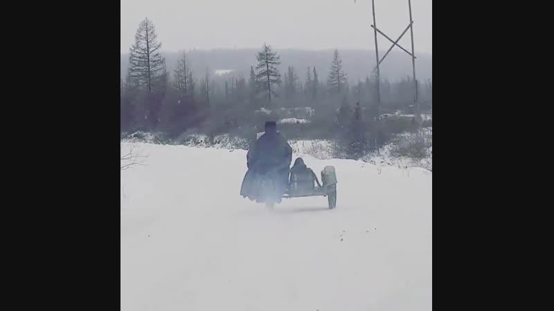 В мороз на мотоцикле