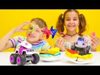 Play Doh #hamuroyunları. Arseniy ve Sema #Hotwheels arabalar için havyarlı kanepe yapıyorlar!