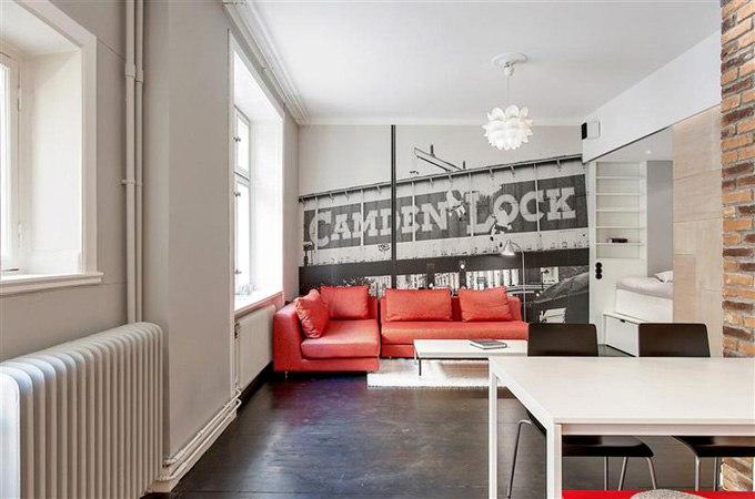 Дизайн интерьера квартиры-студии 39 м в Стокгольме / Швеция в стиле лофт - http://kvartirastudio.