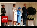 President Donald Trump arrive at Windsor- BBC News