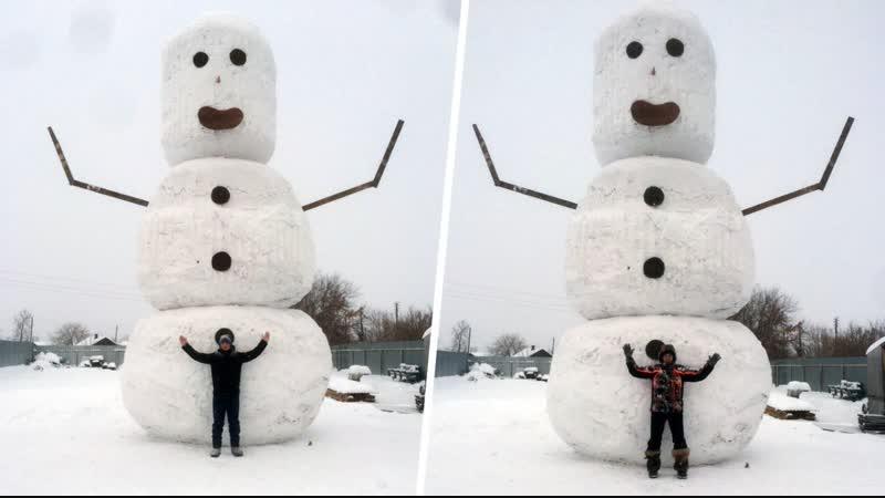 Челябинские студенты слепили 8-метрового снеговика