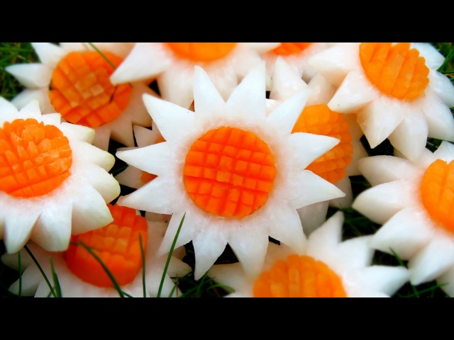 Art In Vegetable White SunFlowers | Vegetable Carving Garnish | Party Garnishing | Italypaul.co.uk