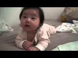 Cute laughing sleeping korean baby