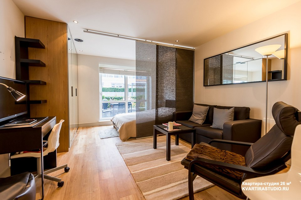 Японские шторы в интерьере студии 26 м - http://kvartirastudio.