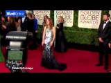 Jennifer Lopez takes the plunge on the Golden Globes red carpet