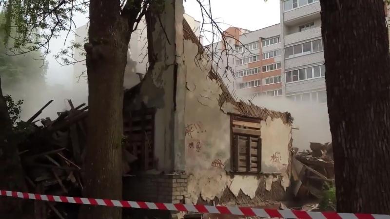 Снос двухэтажки на улице Воробьева в Смоленске