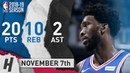 Joel Embiid Full Highlights 76ers vs Pacers 2018.11.07 - 20 Pts, 2 Ast, 10 Rebounds!