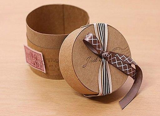 Маленькая коробочка  Необходимые материалы: -Бумага (подойдут серые конверты для корреспонденции, бумага для упаковки кофейных тонов … или белая упаковочная бумага, окрашенная при помощи кофе и корицы) -Узкая декоративная лента или тесьма -Двусторонний скотч или клей -Карандаш, ножницы, линейка, циркуль