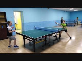 Тренировка по настольному теннису Волков Егор - Князев Никита