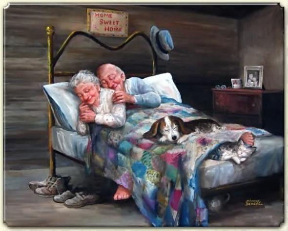 Настоящая любовь - это не любовь Ромео и Джульетты, которые умерли в один день. Это дедушка с бабушкой, которые прожили друг с другом всю жизнь и вместе состарились. - для моей Ромашки!