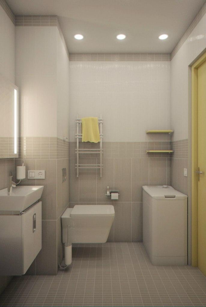 Проект квартиры-студии 28 м для девушки с зонированием перегородкой из стеклоблоков.