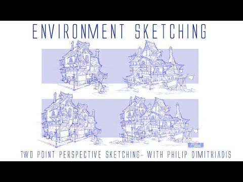 Enviroment Sketching- 2 Point Perpsective Building Shape/Rough Sketching