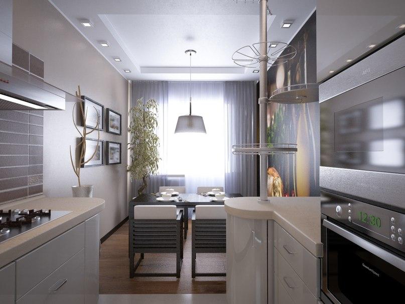 как разделить кухню на 2 зоны фото