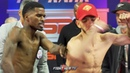 OH DAMN MAURICE HOOKER PUSHES ALEX SAUCEDO DURING WEIGH IN FACE OFF