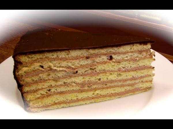 Немецкий торт Принц- регент со сливочно- шоколадным кремом, шоколадной глазурью Prinzregententorte