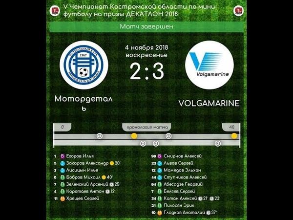 Мотордеталь - Volgamarine 2:3 V Чемпионат Костромской области по мини-футболу (04.11.18)