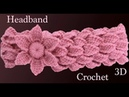 Diadema a crochet con trenzas de hojas y flor 3D en punto tunecino tejido tallermanualperu
