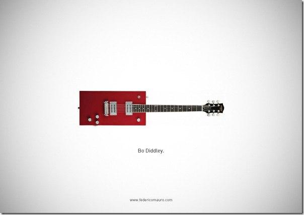 Подборка фотографий гитар известных людей. Итальянский дизайнер Федерико Мауро (Federico Mauro) исследует предметы, которые принадлежат или принадлежали известным людям. На этот раз под его