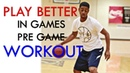 Pregame workout warm up routine dribbling shooting and finishing