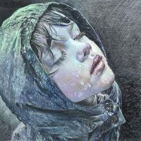 """Оригинал схемы вышивки  """"Девочка под дождем """" ."""