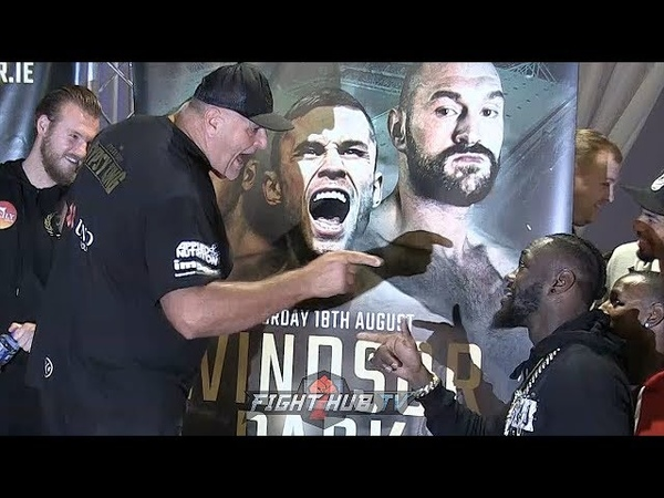 TYSON FURY'S DAD GOES NUTS ON DEONTAY WILDER AS BOTH GO BACK FORTH DURING FURY'S PIANETA WEIGH IN!