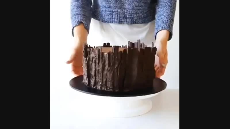 Простой способ сделать шоколадный декор для торта, (шоколадная кора)