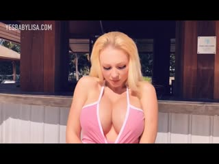 YesBabyLisa - HOT GIRL BIG FAKE BOOBS ON PUBLIC BEACH IN TINY BIKINI [SEXY BODY