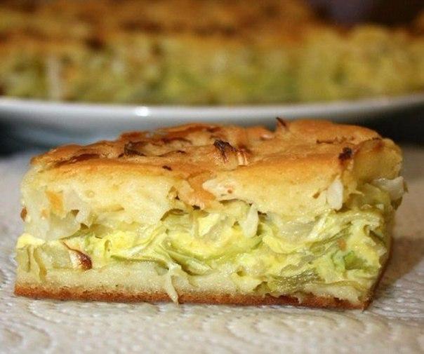 рецепт пирог заливной из капусты
