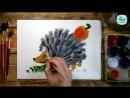 Рисуем с детьми Как нарисовать ЁЖИКА красками
