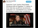 Ruth Bader Ginsburg would not recommend using the U.S. Constitution as a model for writing a modern-day constitution