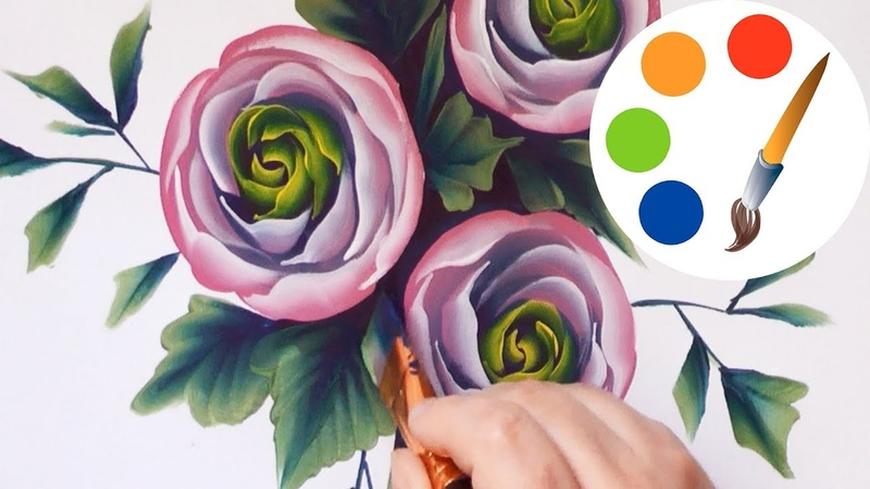 How to paint Ranunculus by a flat brush, tutorial