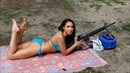 Sexy Hot Girl Shooting With Gun Hot Woman Bikini
