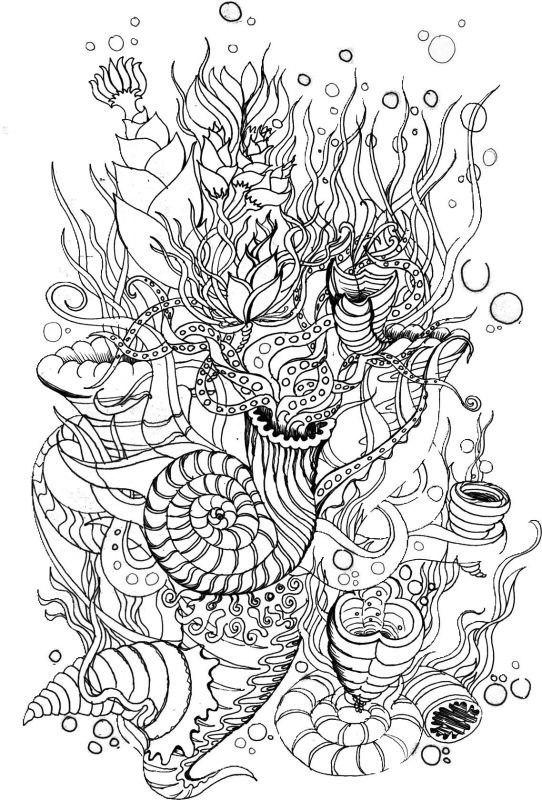 Сложные раскраски для взрослых - Подводный мир, море ...