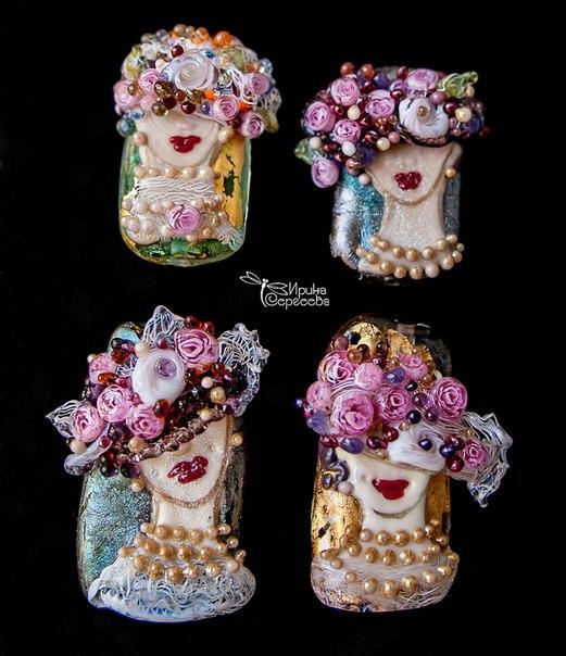 Irina Sergeeva lampwork, Victorian Ladies