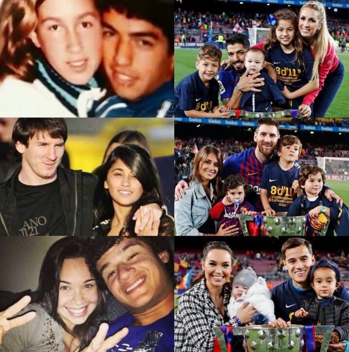 Луис , Лео , Филиппе и их супруги ( тогда и сейчас)