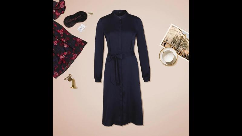 Благородный синий оттенок и струящаяся ткань платья из коллекции NAOMI X TOM TAILOR - элегантное решение на каждый день ☕️