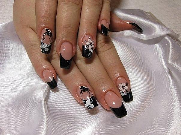 Фото дизайн ногтей с черным френчем