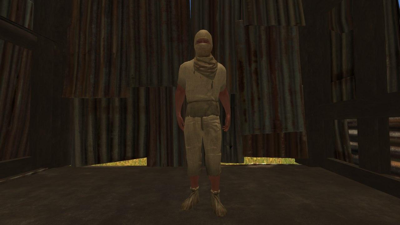 Так выглядит полный комплект Cloth Armor (Броня из Ткани) на персонаже