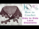 How to Crochet Midsummer Garden Shawlette Side to Side with Lace Edging plus Charts