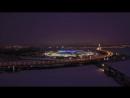 Nochnoj polet nad zalivom ZSD i novym Krestovskim stadionom
