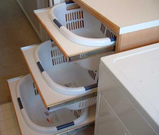 Идея по сортировке грязной одежды в ванной комнате