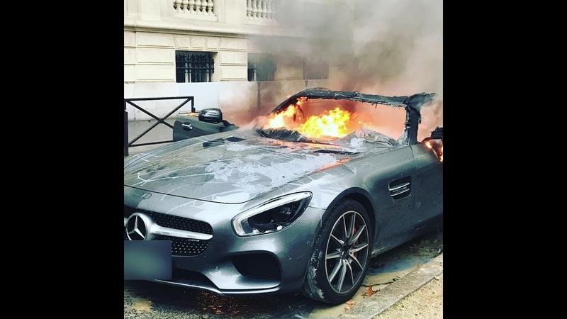 Gilets Jaune Une banque LCl prend feu 1decembre 2018