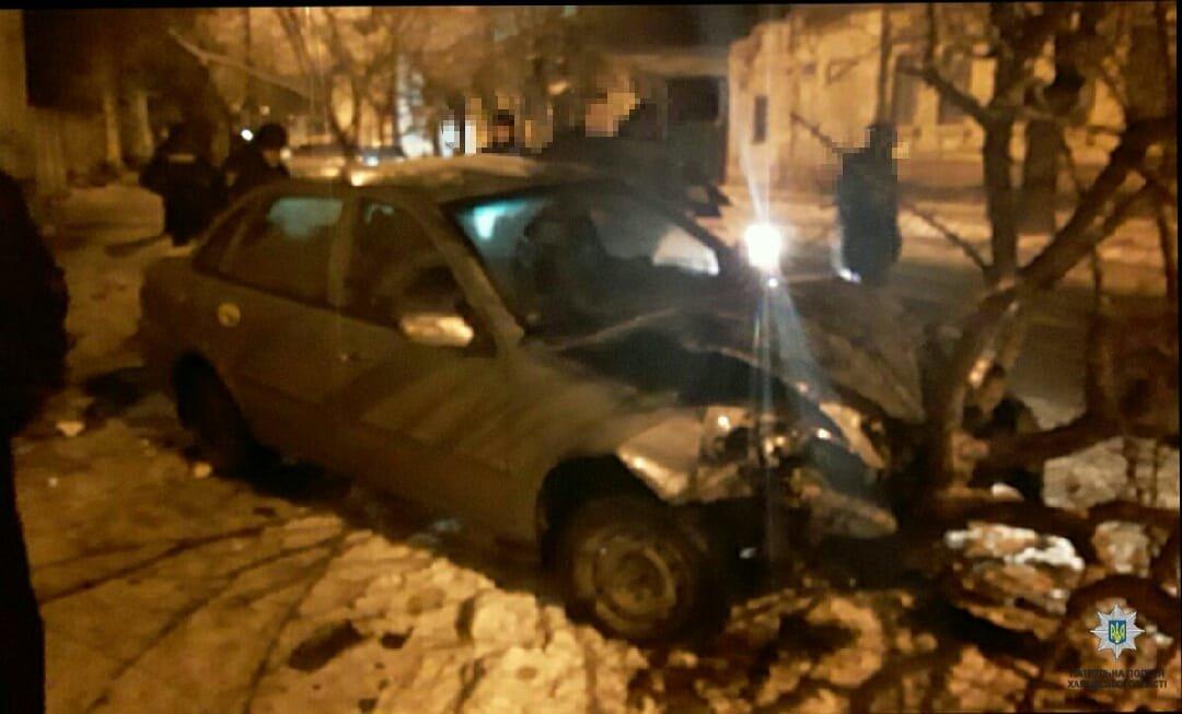 Харьковчанин на легковушке врезался в дерево