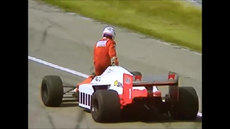 Прост пытается дотолкать свой болид до финиша. Гран При Германии 1986