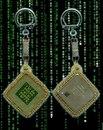 """Брелок.  Метки.  Настоящий процессор Intel Pentium 4 1600MHz в обрамлении мельчайшего Венецианского  """"золотого """" бисера..."""