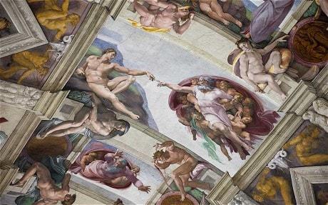Микеланджело. Бог и Адам с протянутыми руками друг к другу