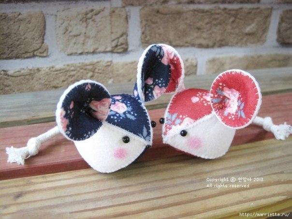 Мышка из фетра (7 фото) - картинка